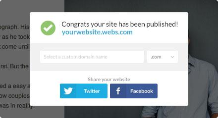 Écran de confirmation de publication du site