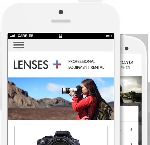 Mobiele apparaten die een website weergeven